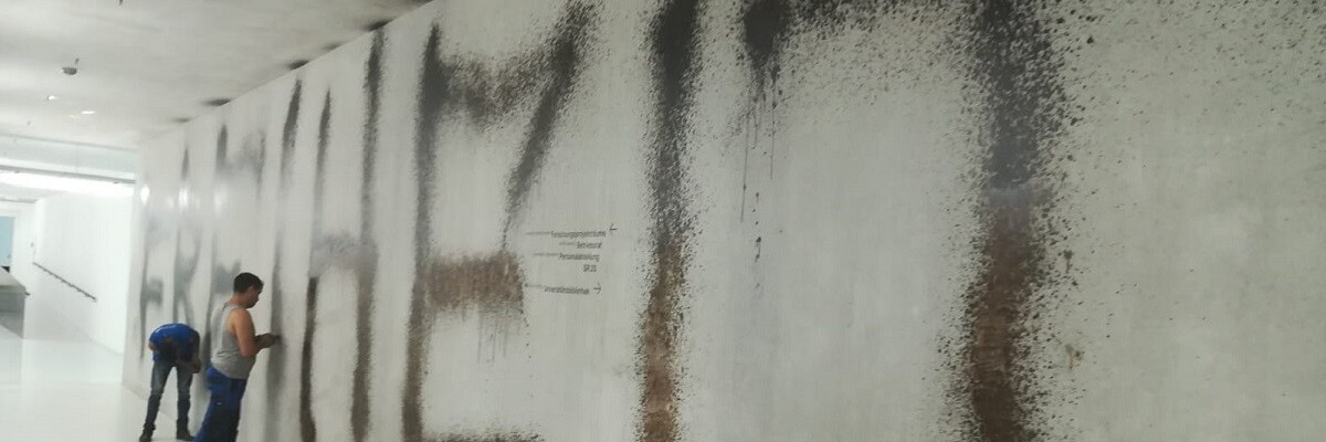 Graffiti entfernen Gang innen 1030 Wien Allessauber Kim Graffitientfernung
